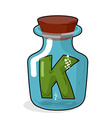 Letter in a laboratory bottle K In a magic bottle vector image