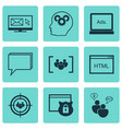 set of 9 advertising icons includes intellectual vector image