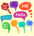 Set of bright speech bubbles hand-drawn on a light vector image