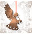 Wooden figure of angel vector image