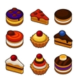 Set of cupcakes icons vector image vector image