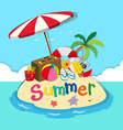 Island full of beach objects vector image