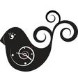 cute wall clock bird sticker vector image vector image