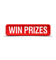 Win prizes red 3d square button isolated on white vector image