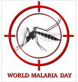 World malaria day sign with mosquito in focus vector image