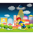 A superhero and a saucer near the buildings vector image