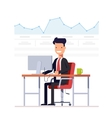 Businessman or manager analyzes the schedule vector image
