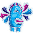 cool cartoon crazy blue monster simple weird vector image