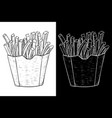 french fries in a paper cup hand drawn sketch vector image