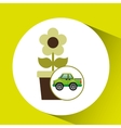 green ecology car flower concept vector image