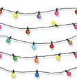 Seamless string of Christmas lights on garland vec vector image