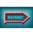 Volume retro arrow with lights New Product Word vector image
