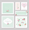 wedding card templates set decorated with roses vector image