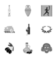 Greece set icons in monochrome style Big vector image