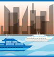 yacht navigating in the ocean near the city vector image