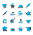 Restaurant and kitchen items icons vector image