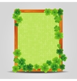 Clover on empty wooden frame vector image