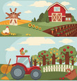 nice fram with long vegetable beds and big orchard vector image