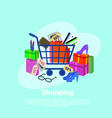 shopping baner concept with trolley cart clothes vector image