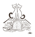 Sketch with Cats in Love vector image