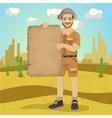 explorer young man with safari hat vector image