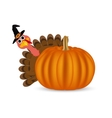Turkey on Thanksgiving Day looks out from behind vector image