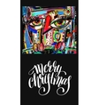 christmas greeting card with digital painting vector image vector image