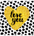 love you hand drawn design vector image