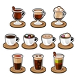 Coffee and tea cup set vector image vector image