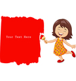 Cartoon little girl painting the wall with red vector image