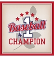 Baseball Champion Number One Badge vector image
