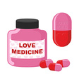 Love medicine Bottle with pills of love of vector image