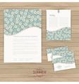 set of floral vintage wedding cards on wood vector image