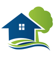 House with tree and waves logo vector image vector image