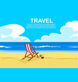 deck chair on tropical beach with coconut cocktail vector image