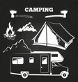 camping or hiking vintage elements on chalkboard vector image