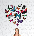 dreaming girl butterfly heart vector image