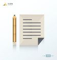 Notebook and pencil icon origami vector image