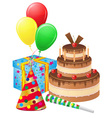 set icons for birthday 01 vector image