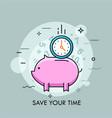 time saving thin line concept vector image