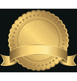 Golden blank label with golden ribbon vector image vector image