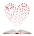 Open book with heart of letters vector image vector image