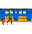 Woman walking with suitcase vector image