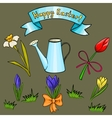 cartoon set of flower for Easter card vector image