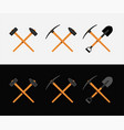 crossed hammer and shovel vector image