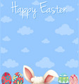 happy easter poster design with eggs and blue sky vector image