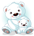 mother polar bear with her son vector image