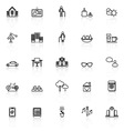 Retirement community line icons with reflect on vector image