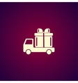 truck with a gift icon vector image
