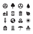 Silhouette Ecology and nature icons vector image
